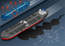 Isometric Ship Tanker Leaky Oil in Front View Stock Image