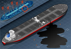 Isometric Ship Tanker Leaky Oil in Rear View Royalty Free Stock Image