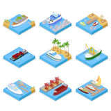 Isometric Ships and Boats Set with Cruise and Industrial Ship. Sailing and Shipping. Vector flat 3d illustration Stock Photos