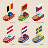 Isometric ships with flags: Belgium, Belarus, Czech Republic, Austria, Netherlands, Sweden Royalty Free Stock Image