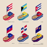 Isometric ships with flags: Cuba, Dominican Republic, Haiti, Bah Royalty Free Stock Photos