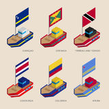 Isometric ships with flags: Curacao, Grenada, Costa Rica, Colomb Stock Photos