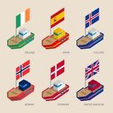 Isometric ships with flags: Denmark, United Kingdom England, Spain, Norway, Ireland, Iceland Royalty Free Stock Photo
