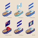 Isometric ships with flags: Honduras, Guatemala, Salvador, Nicar Royalty Free Stock Images