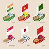 Isometric ships with flags: India, Vietnam, China, Singapore, Pakistan, Japan Stock Image