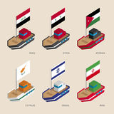 Isometric ships with flags: Iraq, Iran, Jordan, Syria, Cyprus, Israel Stock Image