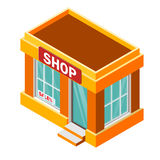 Isometric shop building isolated on a white background. Building icon in the isometric projection. Vector illustration Stock Photography