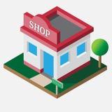 Isometric shop open 24 hours stock image