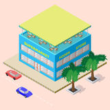 Isometric shopping center with supermarket, foods store and rooftop cafe vector illustration