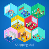 Isometric Shopping Mall Interior with Gym Fitness Club Boutique and Clothes Store. Vector illustration stock illustration