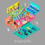 Isometric Shopping Mall Interior with Parking Floor Boutique and Clothes Store. Vector illustration Royalty Free Stock Images