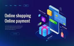 Isometric shopping online and payment online concepts. Internet payments, protection money transfer, online bank vector royalty free illustration