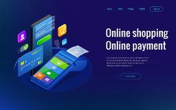 Isometric shopping online and payment online concepts. Internet payments, protection money transfer, online bank vector stock illustration