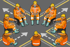 Isometric shunter at work in eight positions. Detailed illustration of a isometric shunter at work in eight positions Stock Photography
