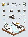 Isometric Simple Rocks Set - Rocks and Cave in First-Snow Forest. Boulders, rocks, and cave set for video game-type isometric first-snow after autumn forest Royalty Free Stock Photography