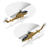 Isometric single-engine attack helicopter. Military air transport. Royalty Free Stock Photos