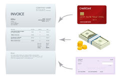 Isometric single Invoice, Bank check, cash and credit cards. Payment and billing invoices, business or financial Stock Photography