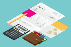 Isometric single Invoice, calculator and credit cards. Payment and billing invoices, business or financial operations Stock Images