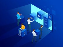 Isometric site creation concept. Webpage design and development, people are working on creating a website, applications. Transferring information. Vector royalty free illustration