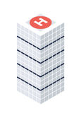 Isometric Skyscraper with Helipad Building Object or Icon - Element for Web, Tileset Map, Landscape Design, Urban Architecture Royalty Free Stock Images
