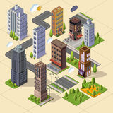 Isometric skyscrapers and office buildings. Houses, roads, and parks. Set vector isometrics landmarks.  buildings for your design. Flat vector Stock Photography