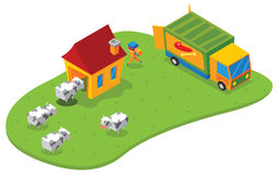 Isometric slaughtering house Royalty Free Stock Photos