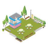 Isometric small coffee shop with tables and chairs and food. royalty free illustration