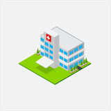 Isometric Small Hospital healty and medical center Stock Image