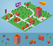 Isometric small map Stock Photo