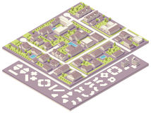 Isometric small town map creation kit. Isometric set of the simplified buildings, road elements and plants for map creation Stock Photos