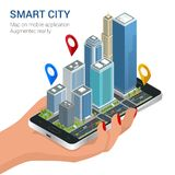 Isometric Smart City concept. Mobile gps navigation and tracking concept. Hand holding smartphone with city map path and Royalty Free Stock Photo