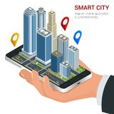 Isometric Smart City concept. Mobile gps navigation and tracking concept. Hand holding smartphone with city map path and Stock Photos