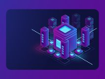 Isometric smart city, digital town, server room, big data flow processing, data center and database warehouse. Cloud storage vector dark ultra violet neon royalty free illustration