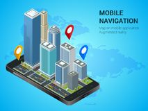Isometric Smart City or Mobile navigation concept. Mobile gps navigation and tracking concept. Smartphone with city map Stock Photos