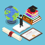 Isometric smart people in graduation suit. Flat 3d isometric smart people in graduation suit with graduate cap on top of book and graduate diploma certificate Royalty Free Stock Photos