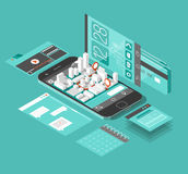 Isometric smart phone interface. Stock Photo