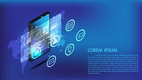 Isometric smart phone or tablet 3d interface.Screen smart and simple with business chart and business icon analysis. stock photography