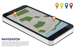 Isometric smartphone with city map for urban navigation with rou. Te and 4 signs on the white background. Place for text. Vector illustration Stock Photo