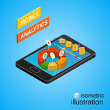 Isometric smartphone with graphs. Mobile analytics concept. Royalty Free Stock Photography