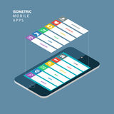 Isometric smartphone with an interface elements. Isometric mobile apps concept. Stock Photos