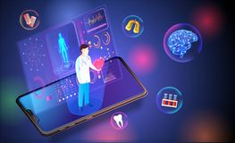 Isometric smartphone with medical health care app based futurist. Ic technology with medical equipments on shiny blurred background stock illustration