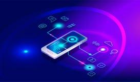 Isometric smartphone z różnymi zastosowaniami, apps, linii usługi, oprogramowanie Isometric smartphone, telefon komórkowy, deponu royalty ilustracja
