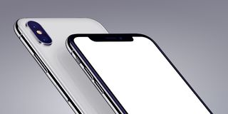Similar to iPhone X isometric smartphones mockup close-up cropped on gray background. Similar to iPhone X smartphones mockup isometric close-up. New modern white stock illustration
