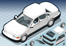 Isometric Snow Capped White Car in Front View Stock Images