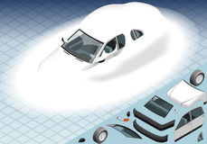 Isometric Snow Capped White Car in Front View Stock Photo