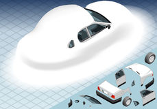 Isometric Snow Capped White Car in Rear View Royalty Free Stock Images