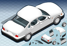 Isometric Snow Capped White Car in Rear View Stock Photos