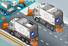 Isometric Snow Plow Truck in Rear View Stock Photography