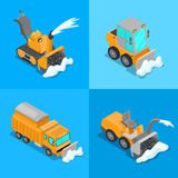 Isometric Snow Removal Transportation Set with Snowplow Truck and Tractor. Vector 3d flat illustration Royalty Free Stock Photos