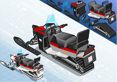 Isometric Snowmobile in Rear View Stock Images
